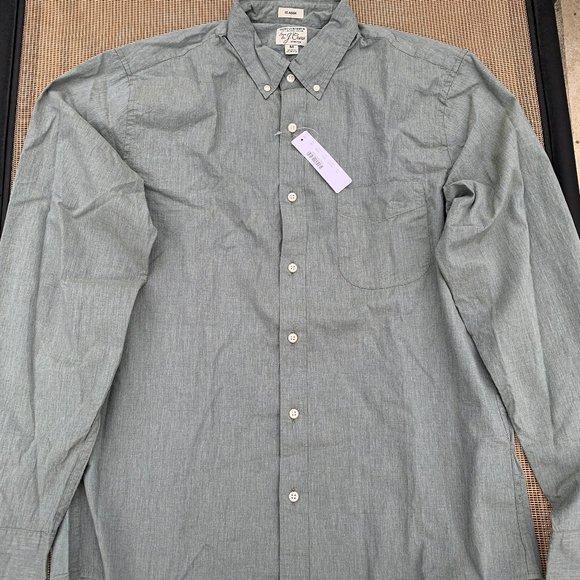 J Crew Mens Shirt NWT Size Medium Green/Grey